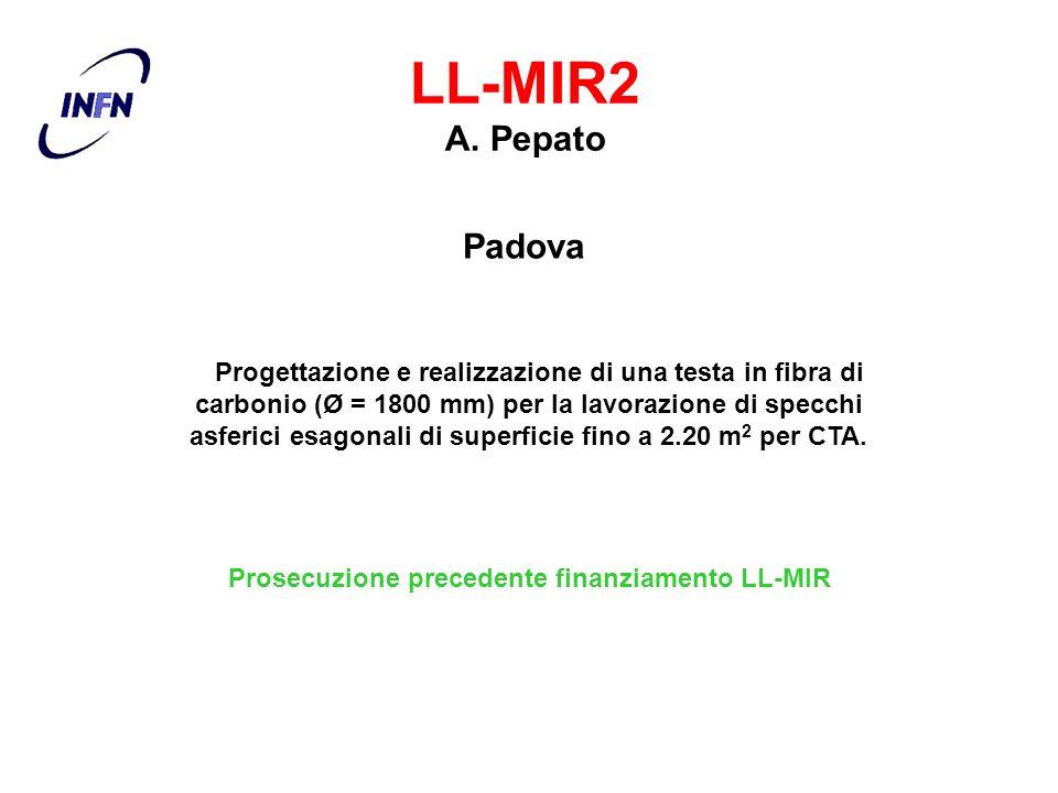 Padova LL-MIR2 A. Pepato Progettazione e realizzazione di una testa in fibra di carbonio (Ø = 1800 mm) per la lavorazione di specchi asferici esagonal