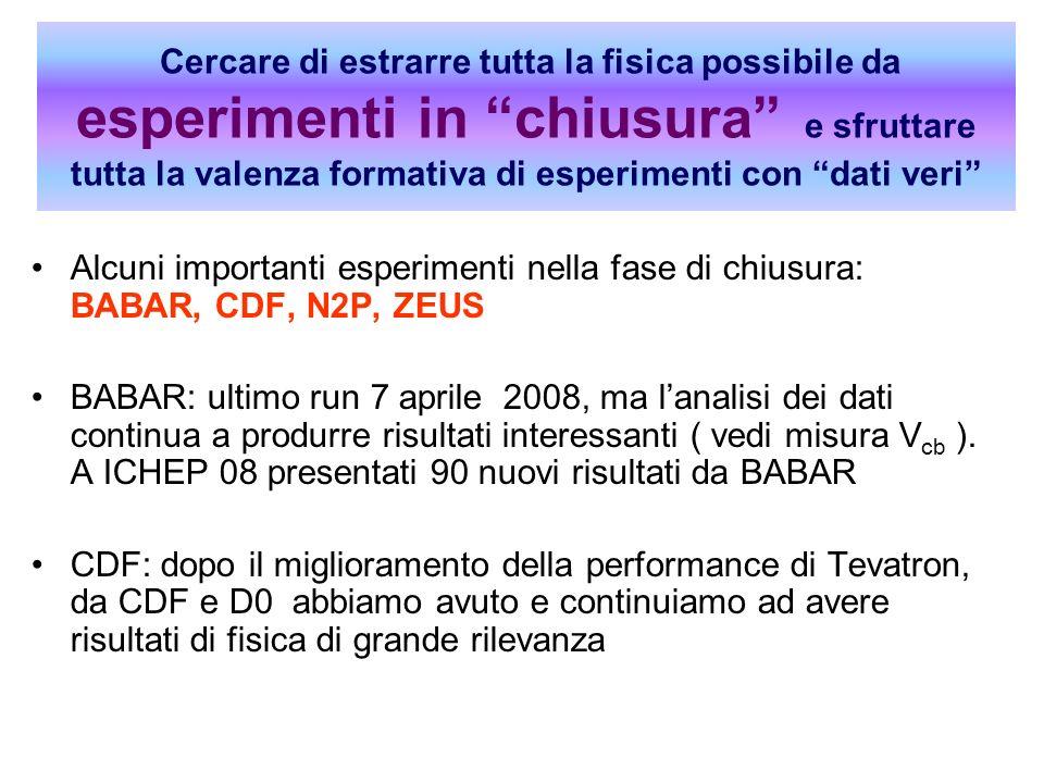 La Ricerca in Sezione a fine 2008 Alcuni importanti esperimenti nella fase di chiusura: BABAR, CDF, N2P, ZEUS BABAR: ultimo run 7 aprile 2008, ma lana