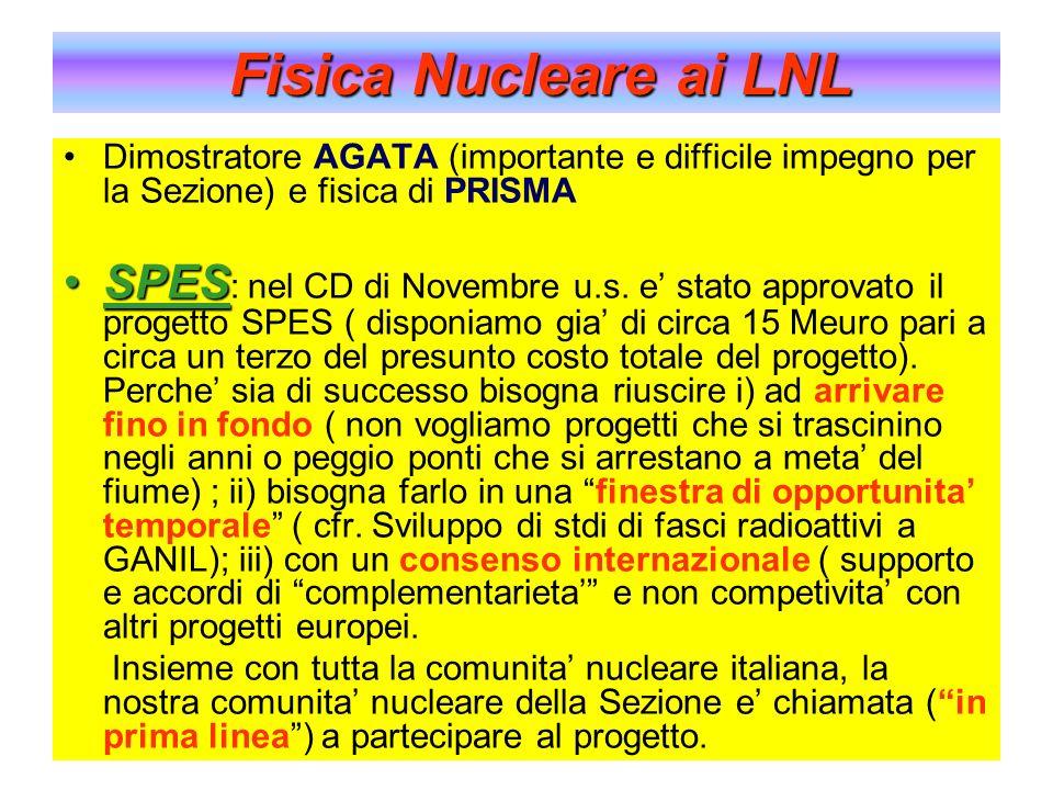 Dimostratore AGATA (importante e difficile impegno per la Sezione) e fisica di PRISMA SPESSPES : nel CD di Novembre u.s. e stato approvato il progetto