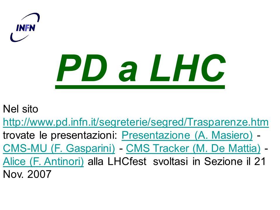PD a LHC Nel sito http://www.pd.infn.it/segreterie/segred/Trasparenze.htm trovate le presentazioni: Presentazione (A. Masiero) - CMS-MU (F. Gasparini)