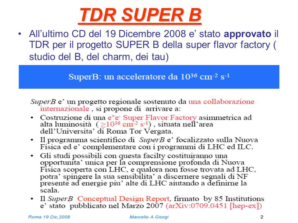 TDR SUPER B Allultimo CD del 19 Dicembre 2008 e stato approvato il TDR per il progetto SUPER B della super flavor factory ( studio del B, del charm, d