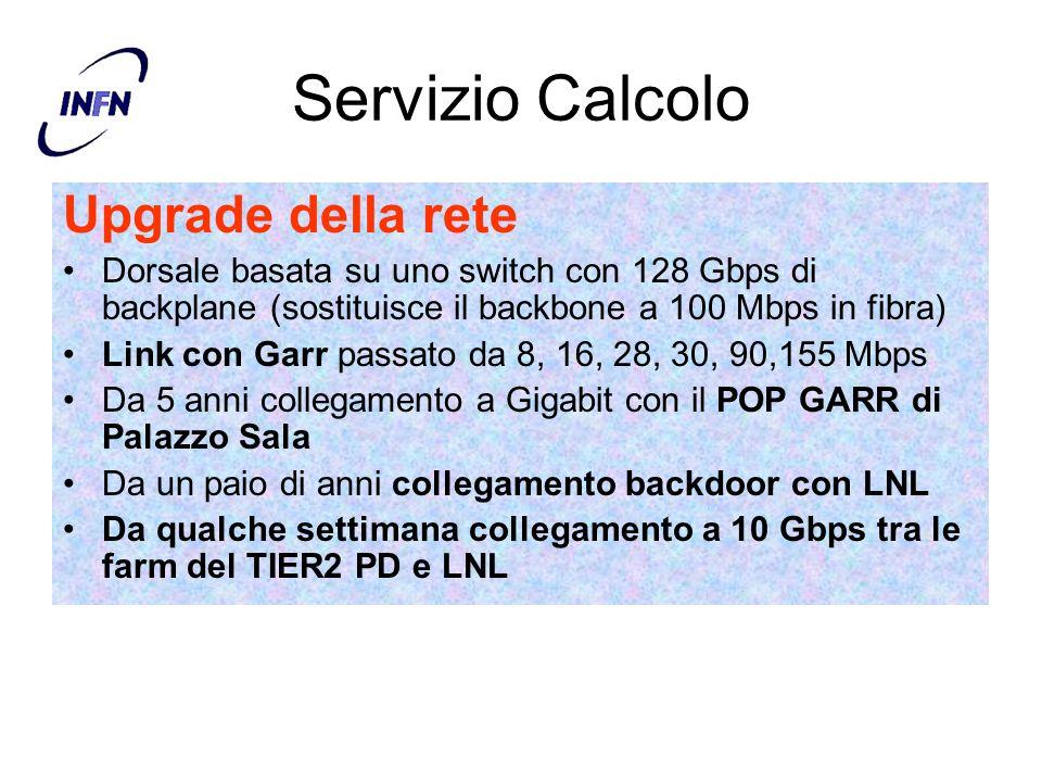Servizio Calcolo Upgrade della rete Dorsale basata su uno switch con 128 Gbps di backplane (sostituisce il backbone a 100 Mbps in fibra) Link con Garr