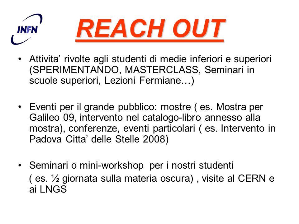 REACH OUT Attivita rivolte agli studenti di medie inferiori e superiori (SPERIMENTANDO, MASTERCLASS, Seminari in scuole superiori, Lezioni Fermiane…)