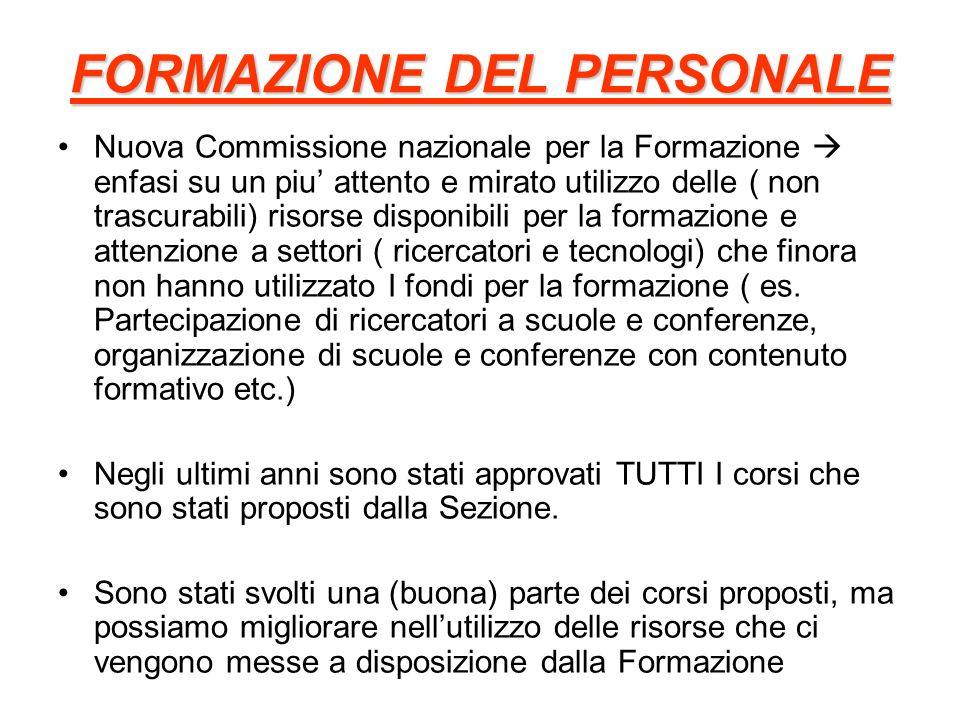FORMAZIONE DEL PERSONALE Nuova Commissione nazionale per la Formazione enfasi su un piu attento e mirato utilizzo delle ( non trascurabili) risorse di