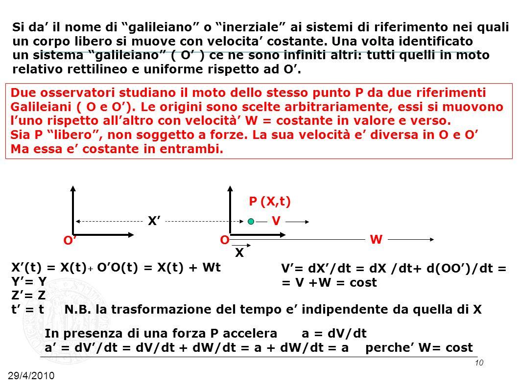 10 Due osservatori studiano il moto dello stesso punto P da due riferimenti Galileiani ( O e O). Le origini sono scelte arbitrariamente, essi si muovo