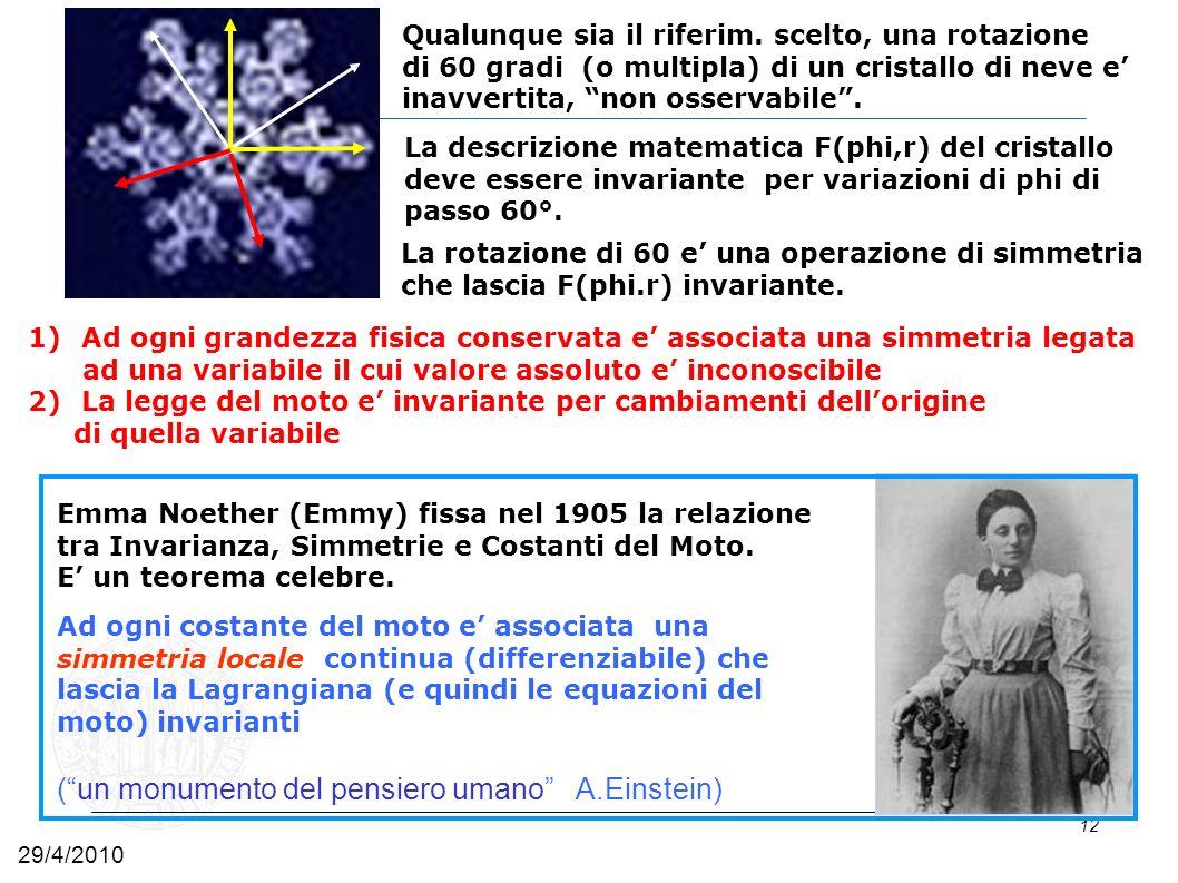 12 1)Ad ogni grandezza fisica conservata e associata una simmetria legata ad una variabile il cui valore assoluto e inconoscibile 2)La legge del moto