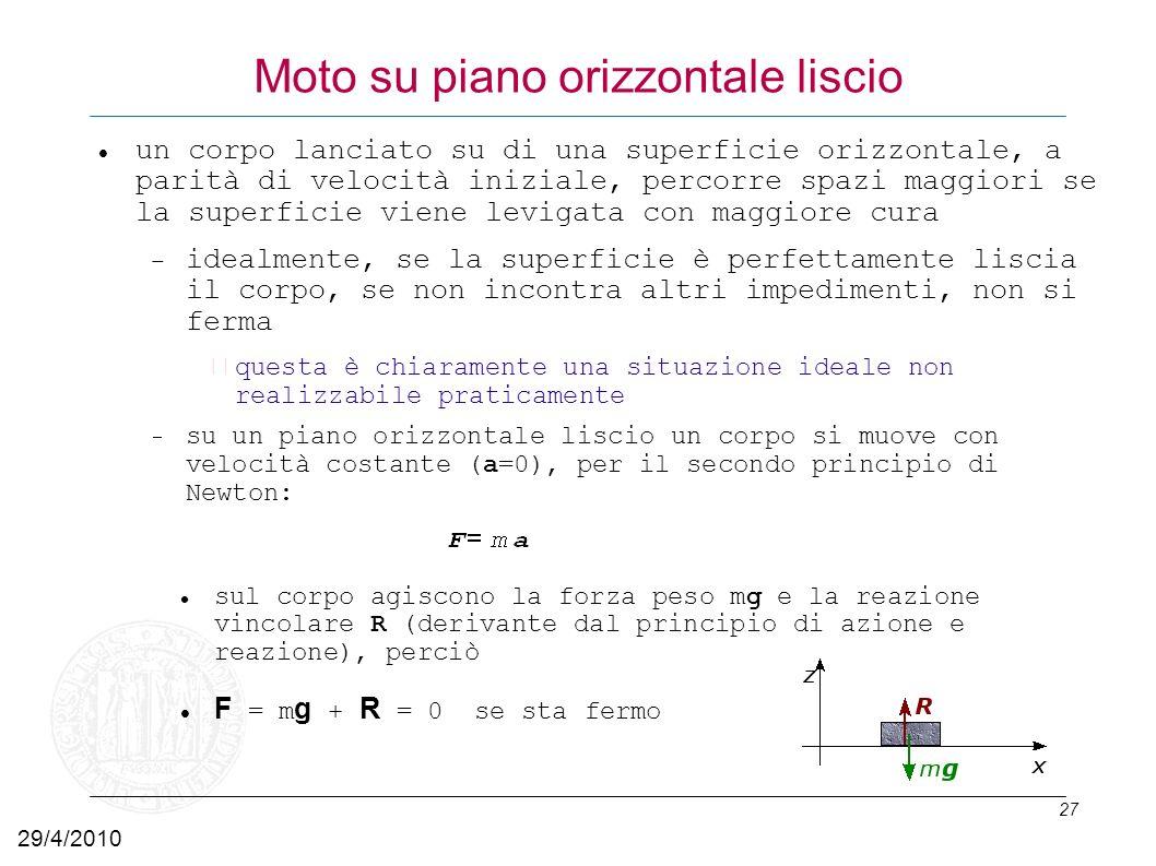 27 Moto su piano orizzontale liscio un corpo lanciato su di una superficie orizzontale, a parità di velocità iniziale, percorre spazi maggiori se la s