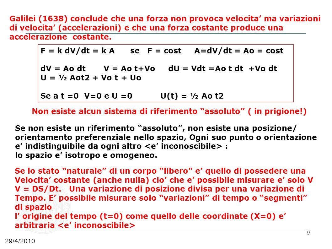 9 Galilei (1638) conclude che una forza non provoca velocita ma variazioni di velocita (accelerazioni) e che una forza costante produce una accelerazi