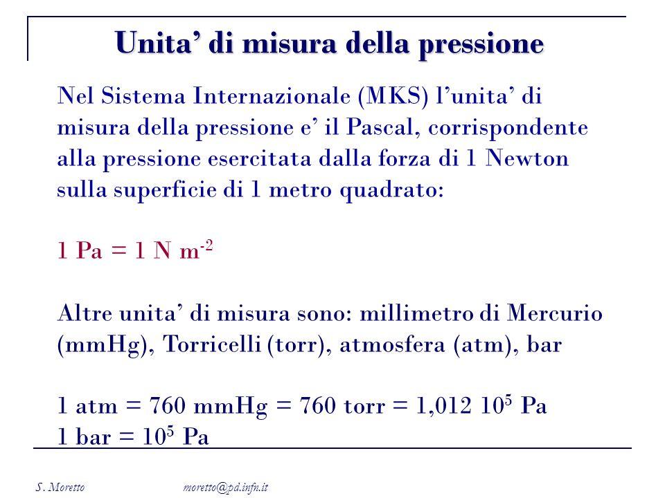 S. Moretto moretto@pd.infn.it Nel Sistema Internazionale (MKS) lunita di misura della pressione e il Pascal, corrispondente alla pressione esercitata