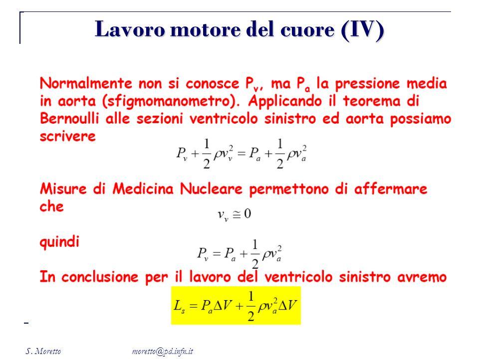 S. Moretto moretto@pd.infn.it Lavoro motore del cuore (IV)