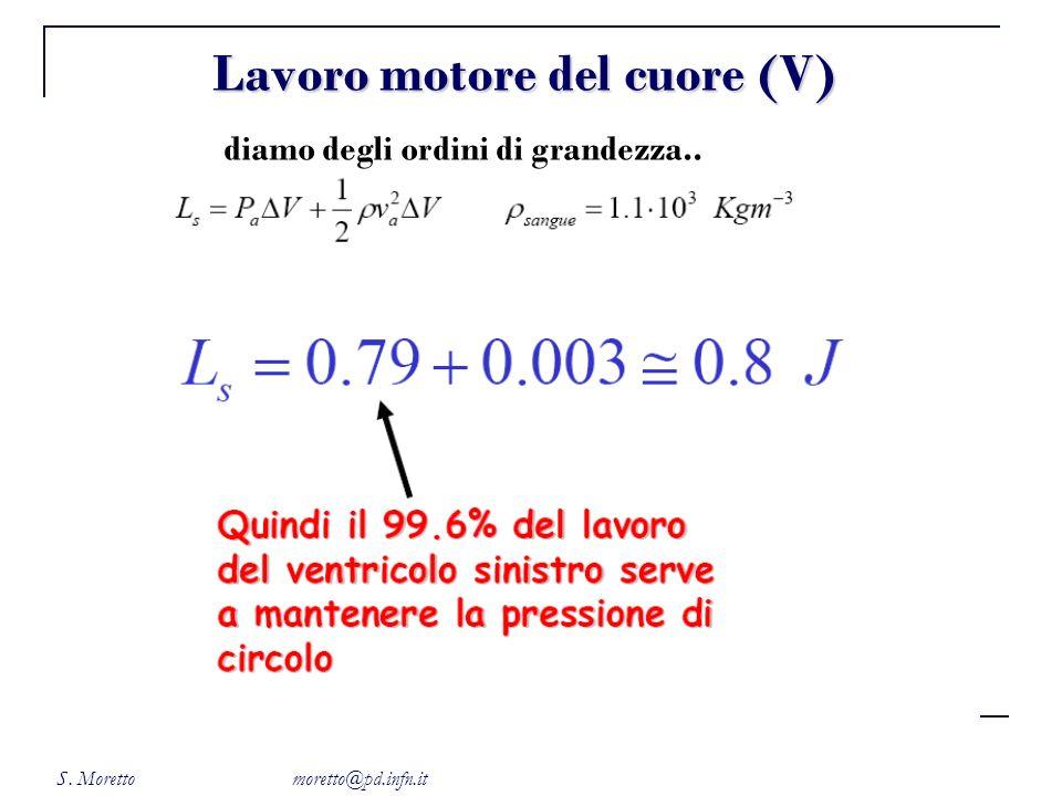 S. Moretto moretto@pd.infn.it Lavoro motore del cuore (V) diamo degli ordini di grandezza..
