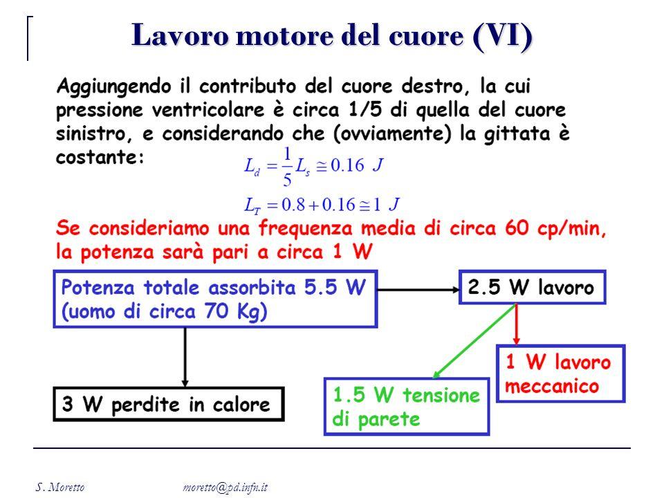 S. Moretto moretto@pd.infn.it Lavoro motore del cuore (VI)
