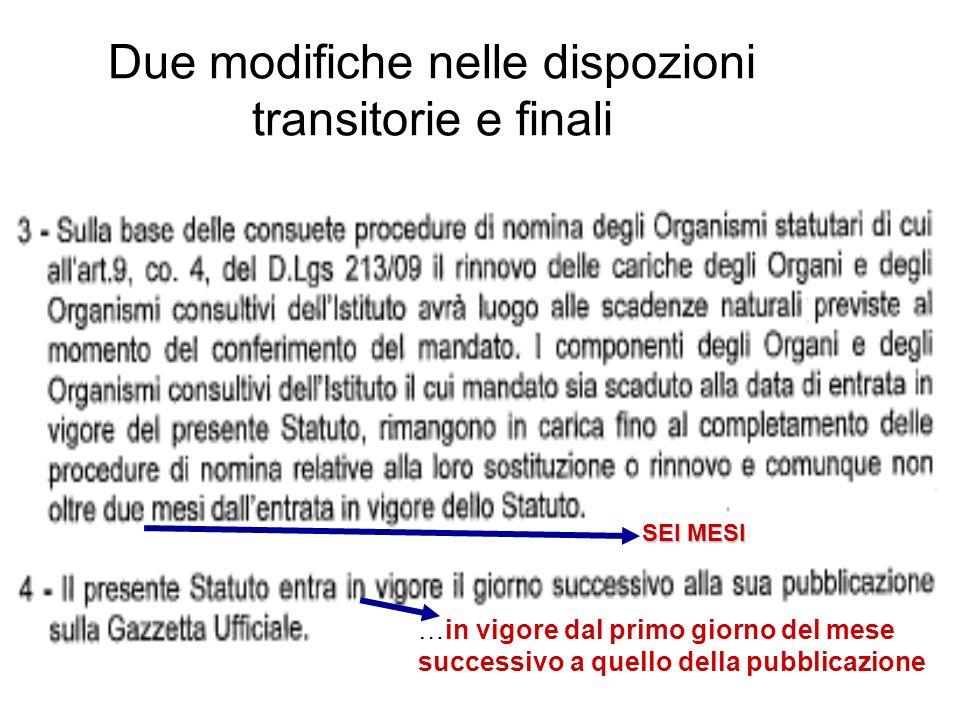 Due modifiche nelle dispozioni transitorie e finali SEI MESI …in vigore dal primo giorno del mese successivo a quello della pubblicazione