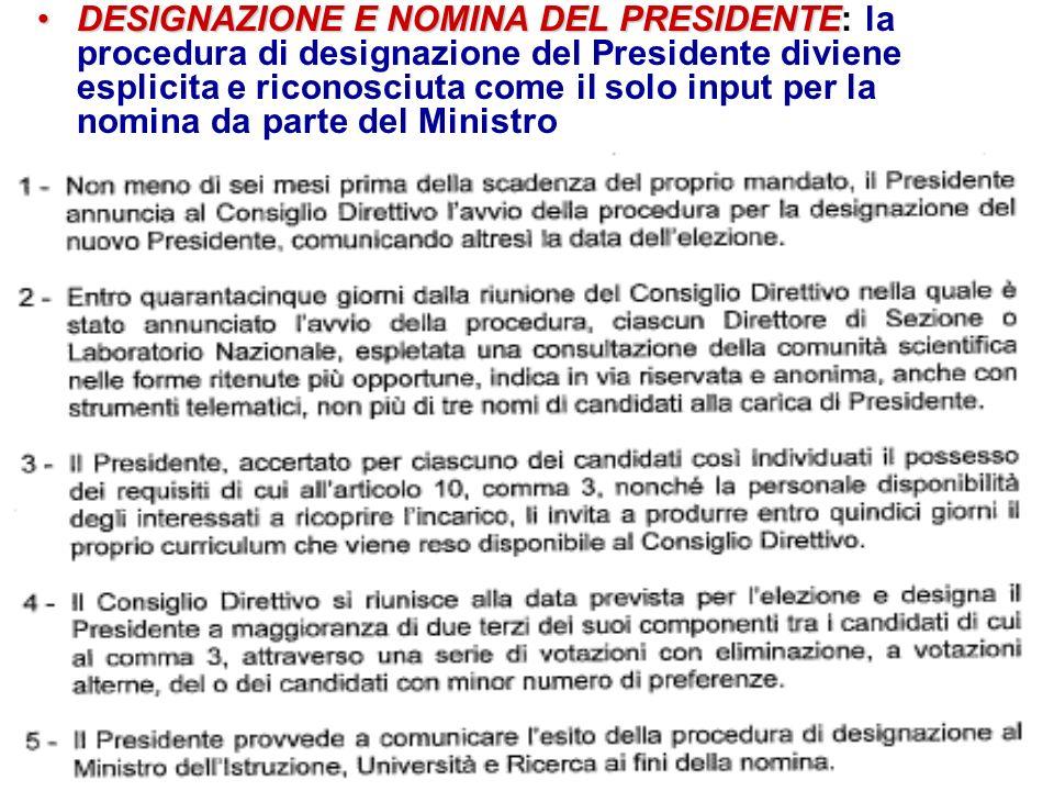 DESIGNAZIONE E NOMINA DEL PRESIDENTEDESIGNAZIONE E NOMINA DEL PRESIDENTE: la procedura di designazione del Presidente diviene esplicita e riconosciuta