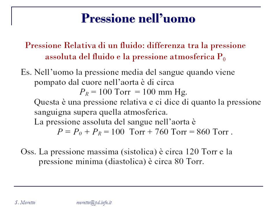 S. Moretto moretto@pd.infn.it Pressione nelluomo Pressione Relativa di un fluido: differenza tra la pressione assoluta del fluido e la pressione atmos