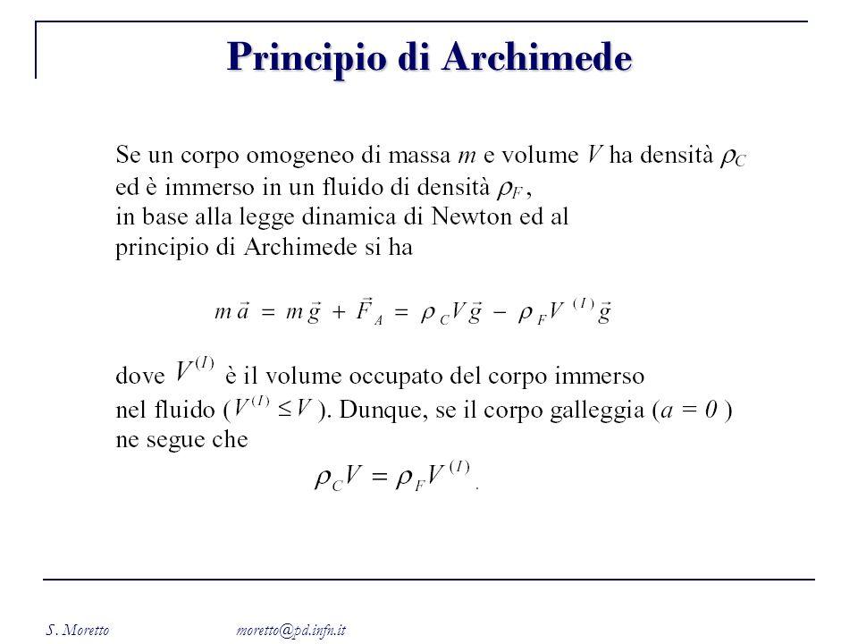S. Moretto moretto@pd.infn.it Principio di Archimede