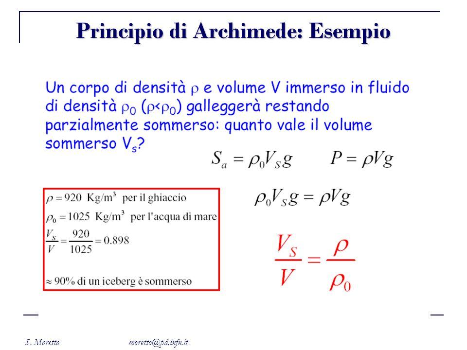 S. Moretto moretto@pd.infn.it Principio di Archimede: Esempio