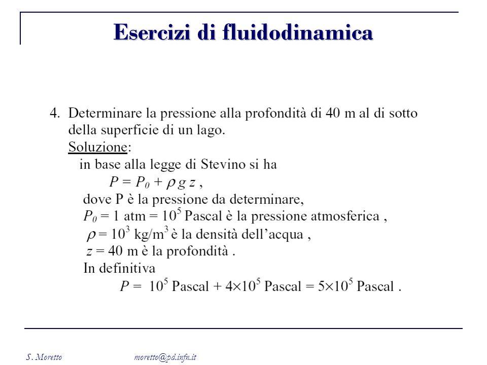 S. Moretto moretto@pd.infn.it Esercizi di fluidodinamica