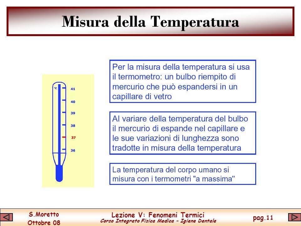 S.Moretto Ottobre 08 Lezione V: Fenomeni Termici Corso Integrato Fisica Medica – Igiene Dentale pag.11 Misura della Temperatura