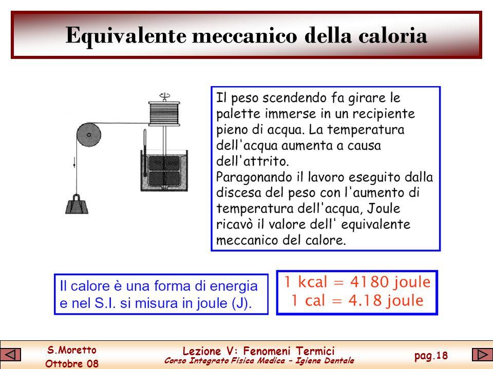 S.Moretto Ottobre 08 Lezione V: Fenomeni Termici Corso Integrato Fisica Medica – Igiene Dentale pag.18 Equivalente meccanico della caloria