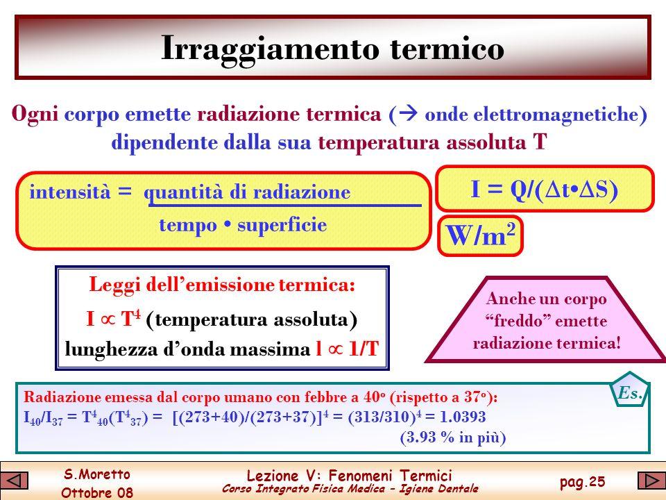 S.Moretto Ottobre 08 Lezione V: Fenomeni Termici Corso Integrato Fisica Medica – Igiene Dentale pag.25 Irraggiamento termico Ogni corpo emette radiazione termica ( onde elettromagnetiche) dipendente dalla sua temperatura assoluta T intensità = quantità di radiazione tempo superficie I = Q/( t S) W/m 2 Leggi dellemissione termica: I T 4 (temperatura assoluta) lunghezza donda massima l 1/T Radiazione emessa dal corpo umano con febbre a 40 o (rispetto a 37 o ): I 40 /I 37 = T 4 40 (T 4 37 ) = [(273+40)/(273+37)] 4 = (313/310) 4 = 1.0393 (3.93 % in più) Es.