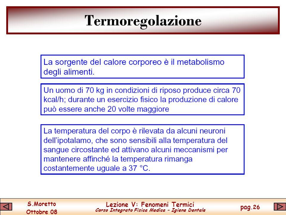 S.Moretto Ottobre 08 Lezione V: Fenomeni Termici Corso Integrato Fisica Medica – Igiene Dentale pag.26 Termoregolazione