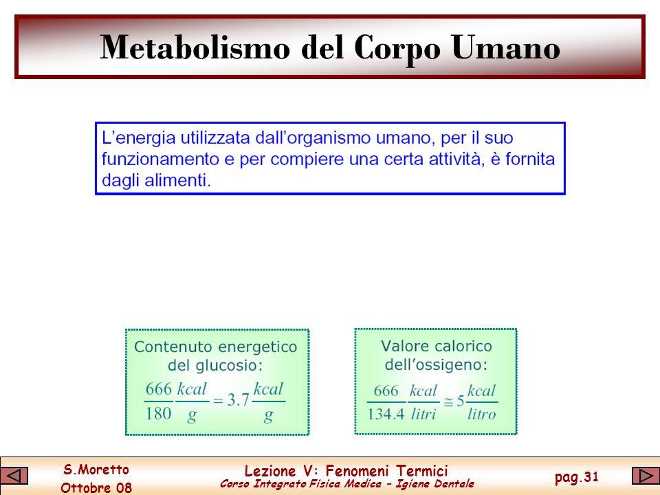 S.Moretto Ottobre 08 Lezione V: Fenomeni Termici Corso Integrato Fisica Medica – Igiene Dentale pag.31 Metabolismo del Corpo Umano