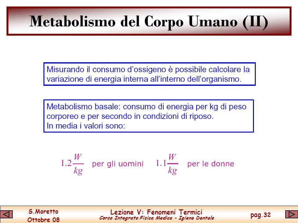 S.Moretto Ottobre 08 Lezione V: Fenomeni Termici Corso Integrato Fisica Medica – Igiene Dentale pag.32 Metabolismo del Corpo Umano (II)