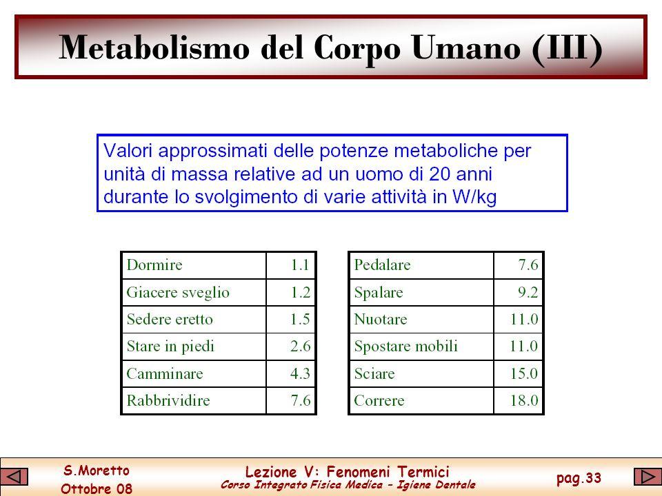 S.Moretto Ottobre 08 Lezione V: Fenomeni Termici Corso Integrato Fisica Medica – Igiene Dentale pag.33 Metabolismo del Corpo Umano (III)