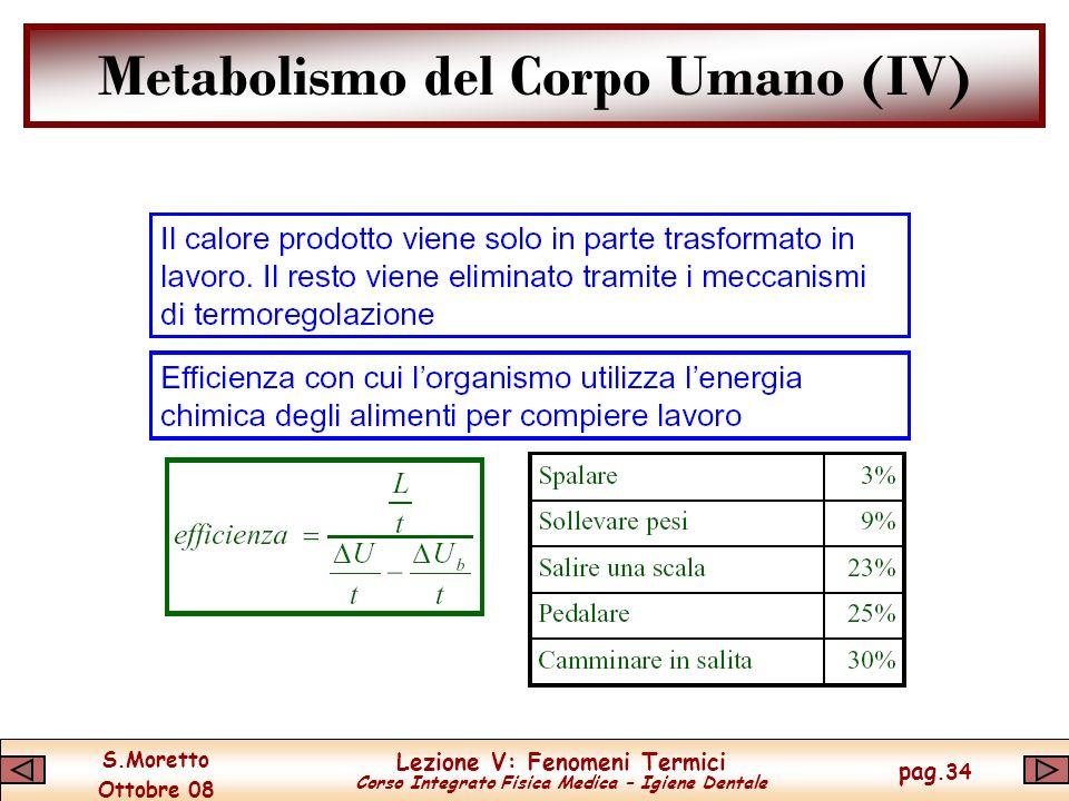 S.Moretto Ottobre 08 Lezione V: Fenomeni Termici Corso Integrato Fisica Medica – Igiene Dentale pag.34 Metabolismo del Corpo Umano (IV)