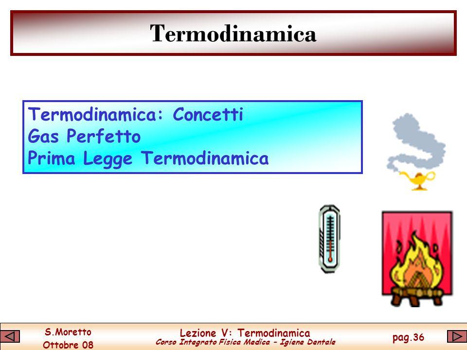S.Moretto Ottobre 08 Lezione V: Termodinamica Corso Integrato Fisica Medica – Igiene Dentale pag.36 Termodinamica Termodinamica: Concetti Gas Perfetto Prima Legge Termodinamica