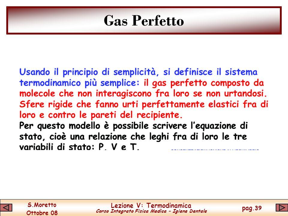 S.Moretto Ottobre 08 Lezione V: Termodinamica Corso Integrato Fisica Medica – Igiene Dentale pag.39 Gas Perfetto