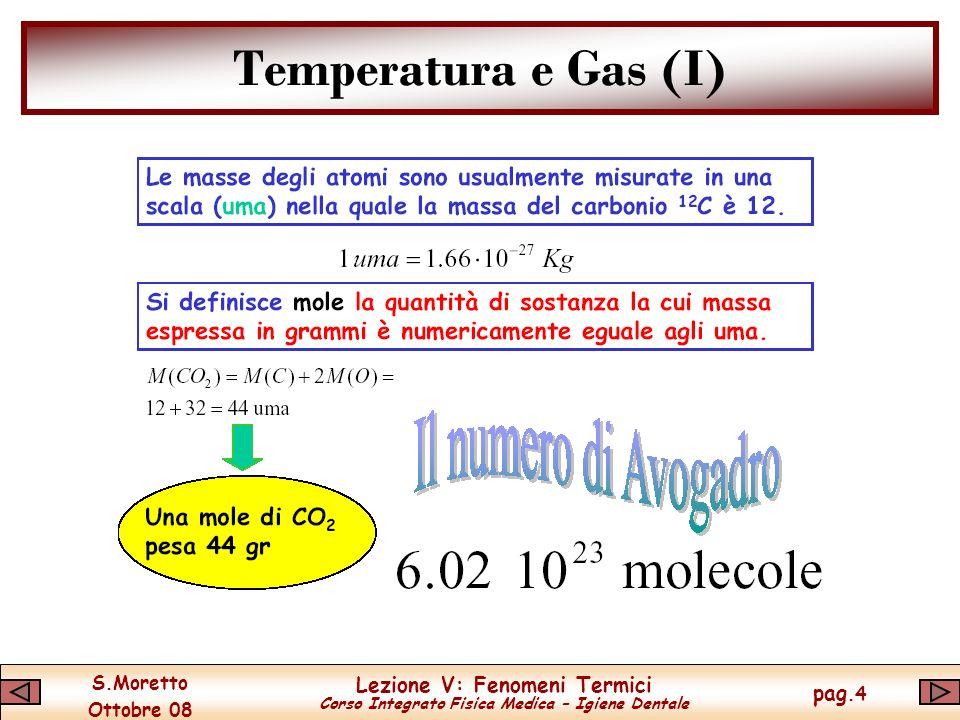 S.Moretto Ottobre 08 Lezione V: Fenomeni Termici Corso Integrato Fisica Medica – Igiene Dentale pag.4 Temperatura e Gas (I)