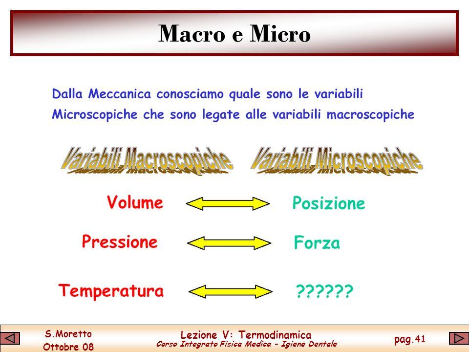 S.Moretto Ottobre 08 Lezione V: Termodinamica Corso Integrato Fisica Medica – Igiene Dentale pag.41 Macro e Micro