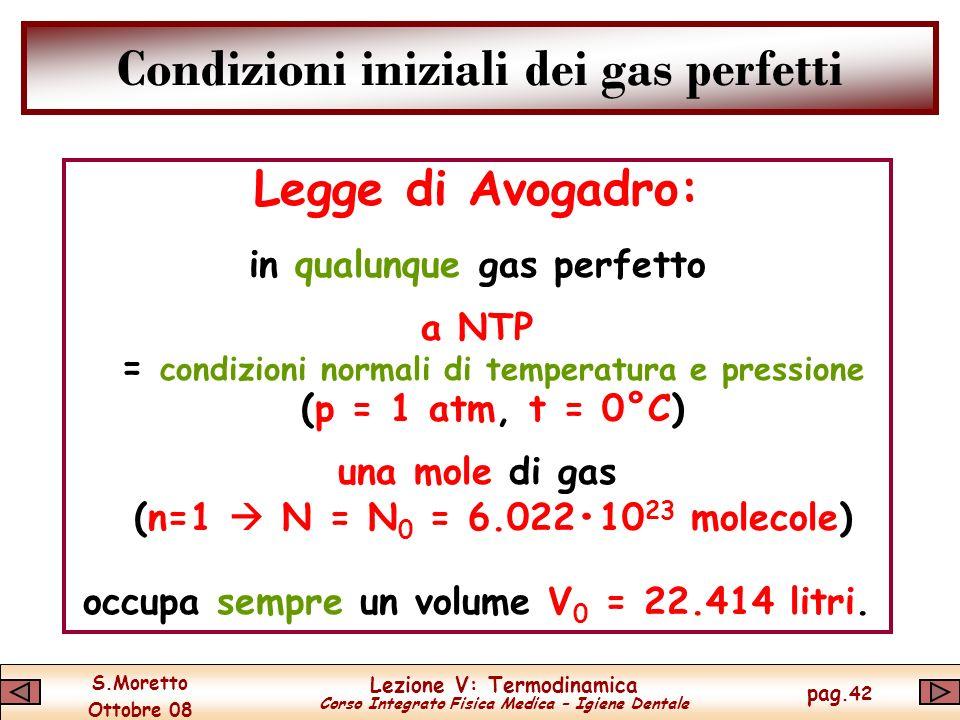 S.Moretto Ottobre 08 Lezione V: Termodinamica Corso Integrato Fisica Medica – Igiene Dentale pag.42 Condizioni iniziali dei gas perfetti Legge di Avogadro: in qualunque gas perfetto a NTP = condizioni normali di temperatura e pressione (p = 1 atm, t = 0°C) una mole di gas (n=1 N = N 0 = 6.02210 23 molecole) occupa sempre un volume V 0 = 22.414 litri.