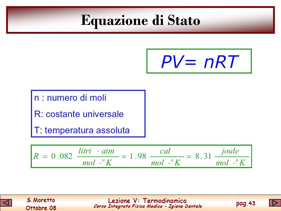 S.Moretto Ottobre 08 Lezione V: Termodinamica Corso Integrato Fisica Medica – Igiene Dentale pag.43 Equazione di Stato