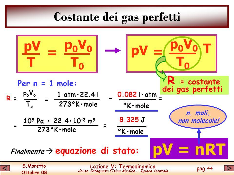 S.Moretto Ottobre 08 Lezione V: Termodinamica Corso Integrato Fisica Medica – Igiene Dentale pag.44 Costante dei gas perfetti Per n = 1 mole: pV = TT0T0 p0V0p0V0 = T T0T0 p0V0p0V0 R = costante dei gas perfetti poVopoVo ToTo R = = 1 atm22.4 l 273°Kmole = °Kmole 0.082 latm = = 10 5 Pa 22.410 –3 m 3 273°Kmole = 8.325 J °Kmole pV = nRT Finalmente equazione di stato: n.