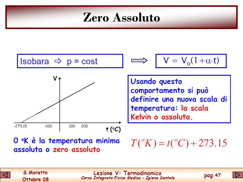 S.Moretto Ottobre 08 Lezione V: Termodinamica Corso Integrato Fisica Medica – Igiene Dentale pag.47 Zero Assoluto