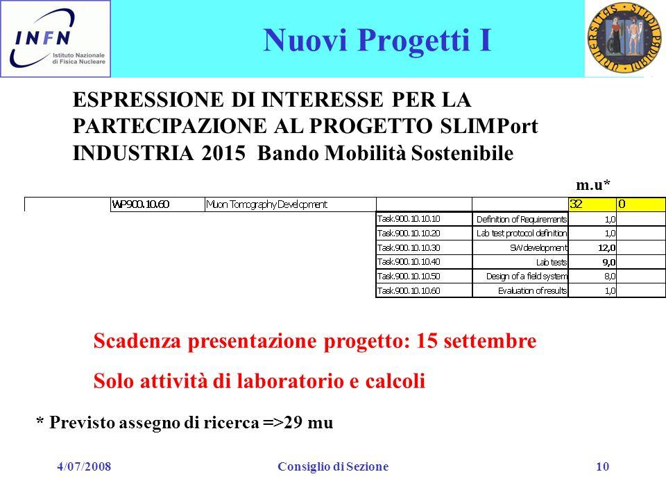 4/07/2008Consiglio di Sezione10 Nuovi Progetti I ESPRESSIONE DI INTERESSE PER LA PARTECIPAZIONE AL PROGETTO SLIMPort INDUSTRIA 2015 Bando Mobilità Sos
