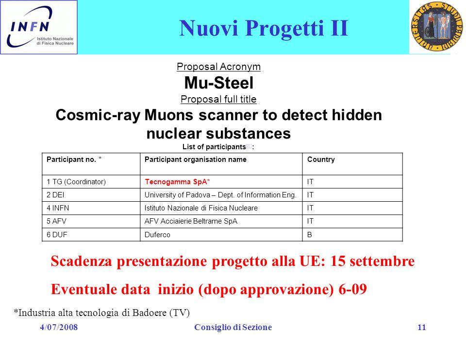 4/07/2008Consiglio di Sezione11 Nuovi Progetti II Proposal Acronym Mu-Steel Proposal full title Cosmic-ray Muons scanner to detect hidden nuclear subs