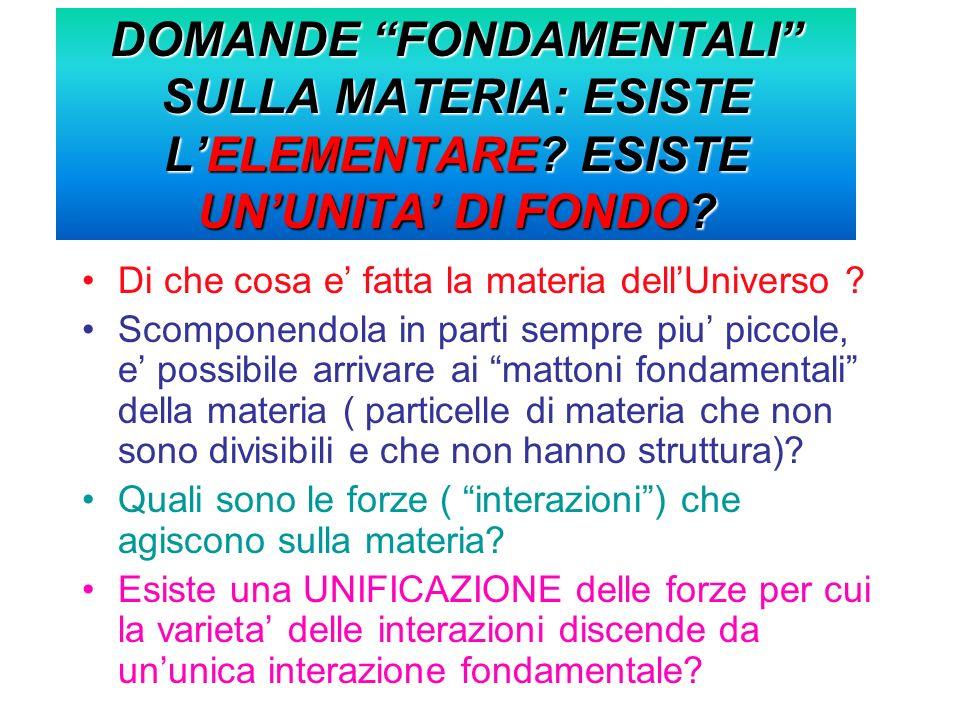 DOMANDE FONDAMENTALI SULLA MATERIA: ESISTE LELEMENTARE.