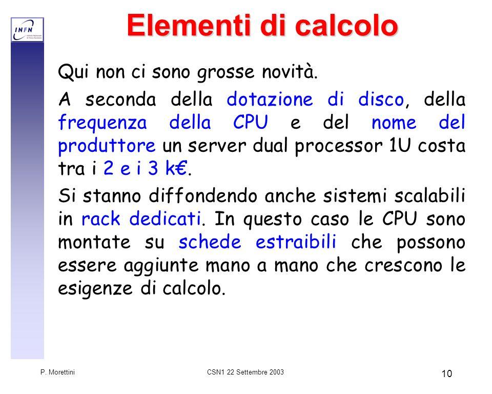 CSN1 22 Settembre 2003 P. Morettini 10 Elementi di calcolo Qui non ci sono grosse novità. A seconda della dotazione di disco, della frequenza della CP