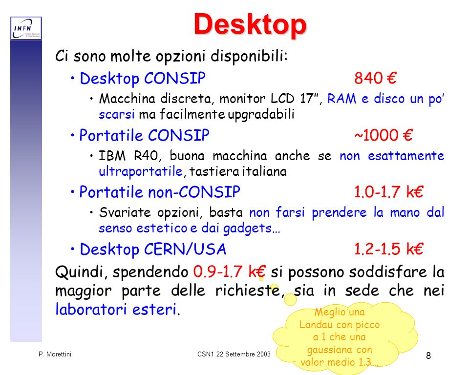 CSN1 22 Settembre 2003 P. Morettini 8 Meglio una Landau con picco a 1 che una gaussiana con valor medio 1.3…Desktop Ci sono molte opzioni disponibili: