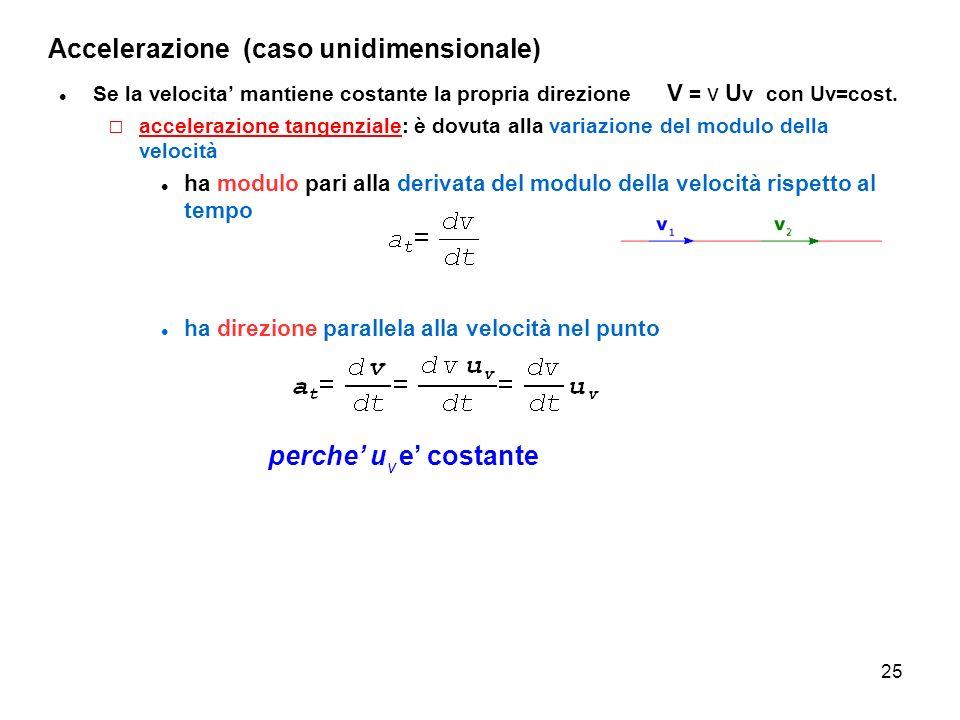 25 Accelerazione (caso unidimensionale) Se la velocita mantiene costante la propria direzione V = v U v con Uv=cost. accelerazione tangenziale: è dovu