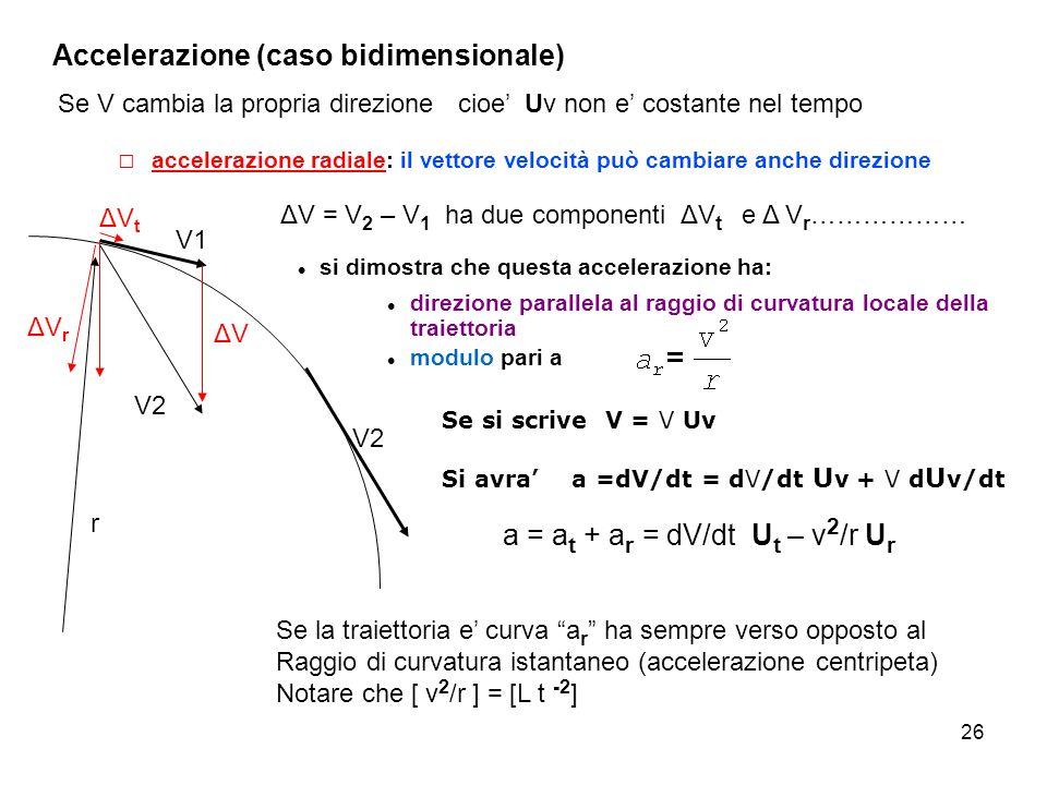 26 accelerazione radiale: il vettore velocità può cambiare anche direzione Accelerazione (caso bidimensionale) Se V cambia la propria direzione cioe U
