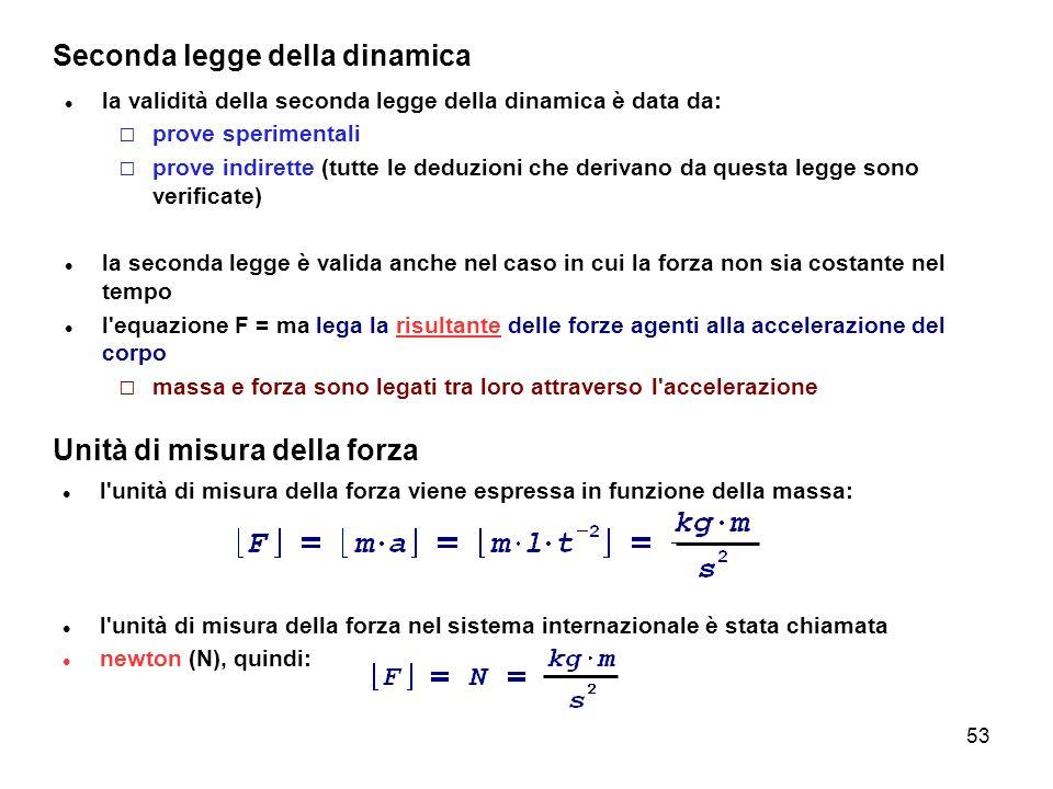 53 Seconda legge della dinamica la validità della seconda legge della dinamica è data da: prove sperimentali prove indirette (tutte le deduzioni che d