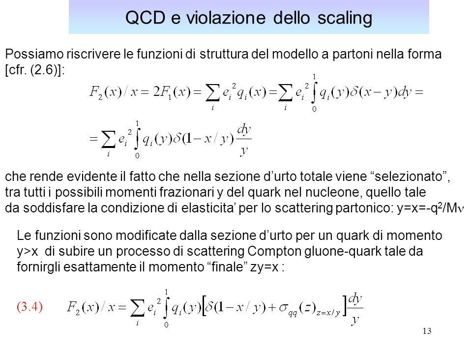 13 QCD e violazione dello scaling Possiamo riscrivere le funzioni di struttura del modello a partoni nella forma [cfr. (2.6)]: che rende evidente il f