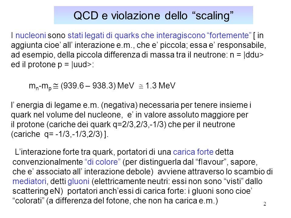 2 QCD e violazione dello scaling I nucleoni sono stati legati di quarks che interagiscono fortemente [ in aggiunta cioe all interazione e.m., che e pi