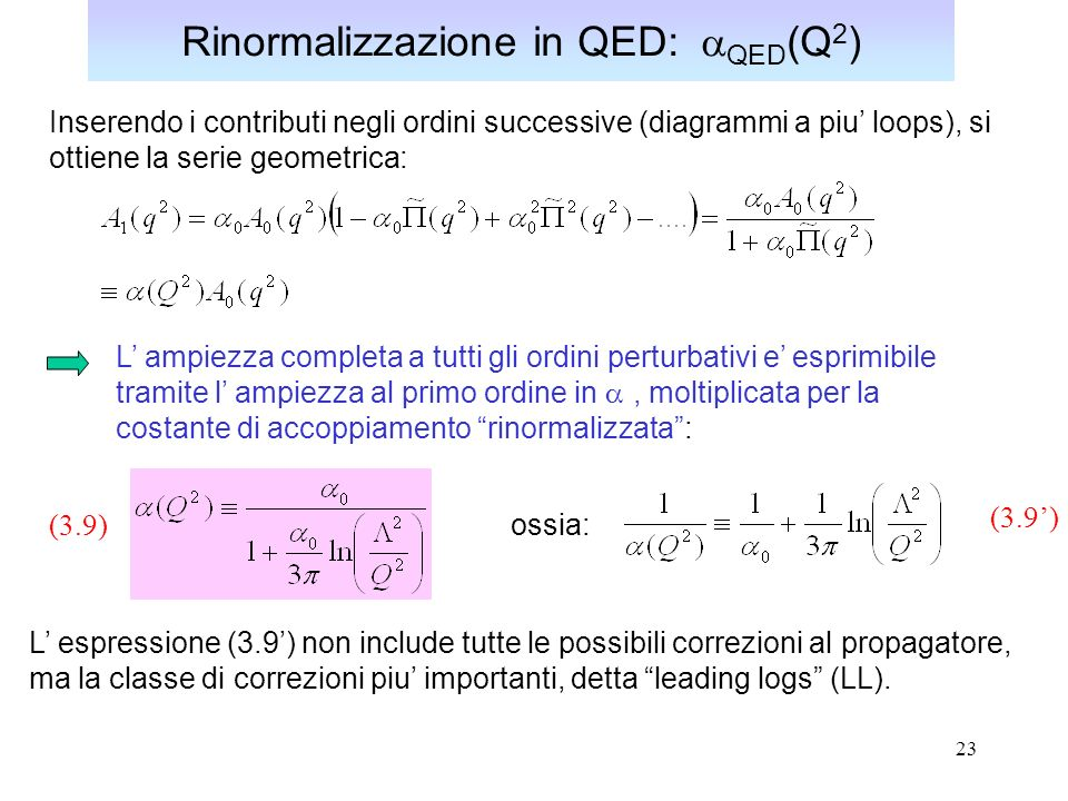 23 Rinormalizzazione in QED: QED (Q 2 ) Inserendo i contributi negli ordini successive (diagrammi a piu loops), si ottiene la serie geometrica: L ampi