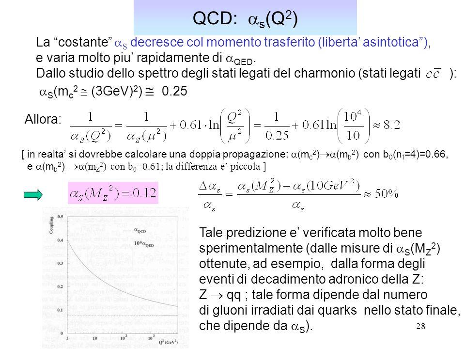 28 QCD: s (Q 2 ) La costante S decresce col momento trasferito (liberta asintotica), e varia molto piu rapidamente di QED. Dallo studio dello spettro